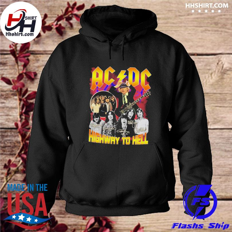 Ac DC highway to hell signatures s hoodie