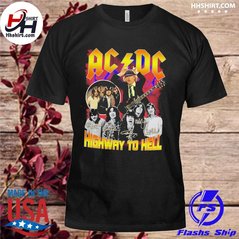 Ac DC highway to hell signatures shirt