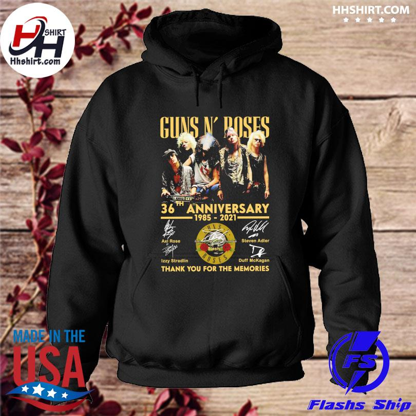 Official Guns N' Roses 36th anniversary 1985 2021 thank you for the memories signatures s hoodie