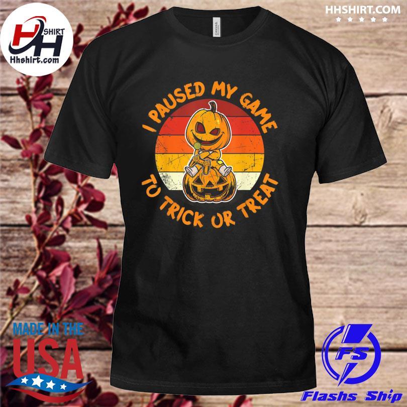 Halloween Pumpkin Gamer Funny Boys Trick Treat Jack Lantern Vintage shirt