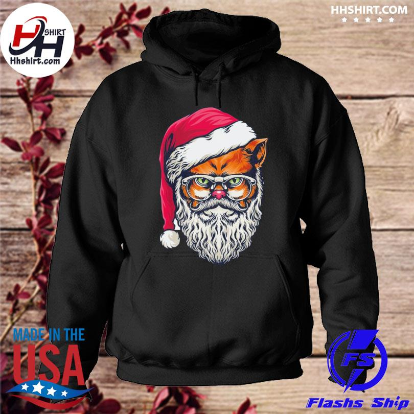 Awesome xmas wildcat santa claus christmas wearing glasses sweater hoodie