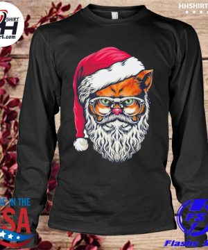 Awesome xmas wildcat santa claus christmas wearing glasses sweater longleeve