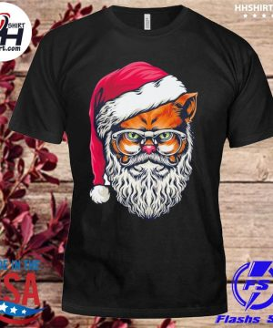 Awesome xmas wildcat santa claus christmas wearing glasses sweater