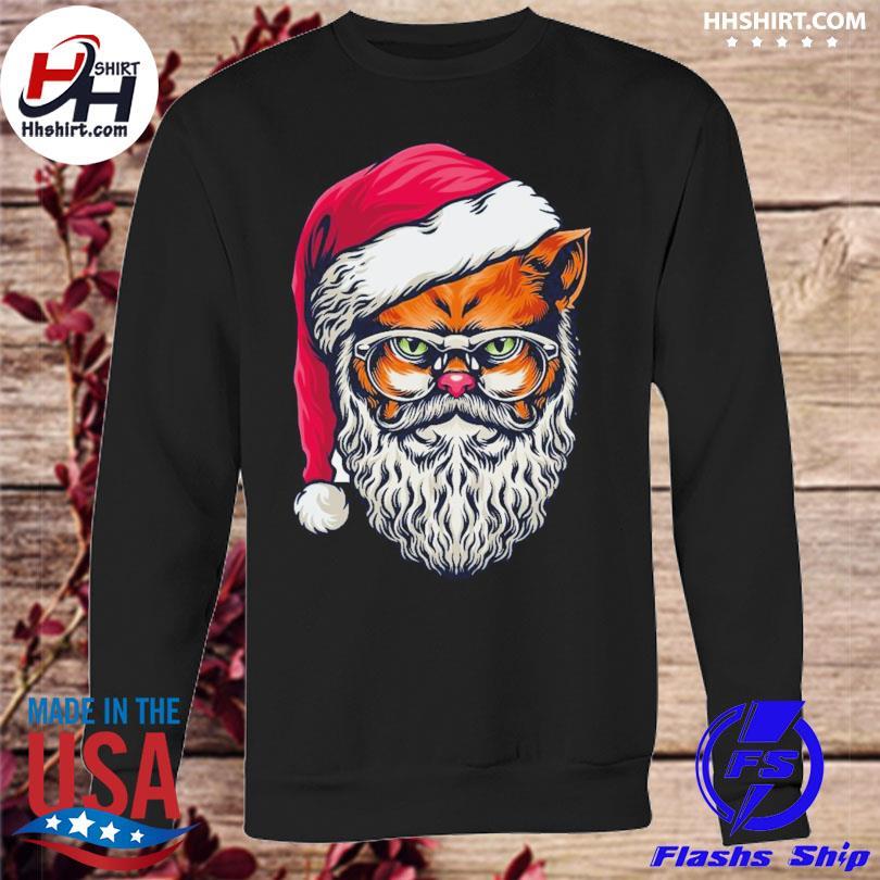 Awesome xmas wildcat santa claus christmas wearing glasses sweater sweatshirt