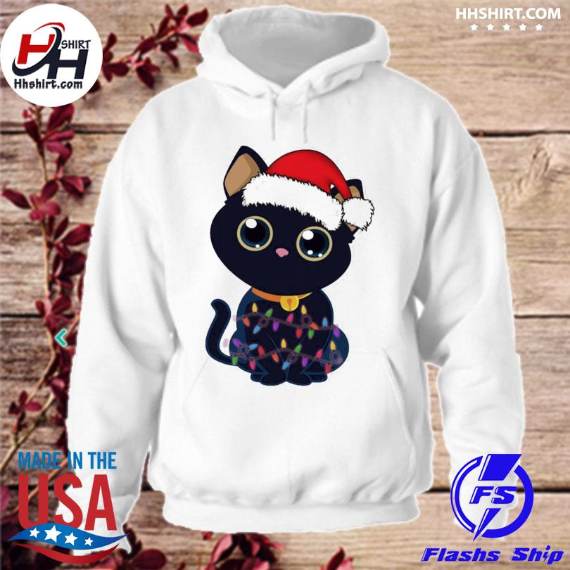 Cute Black Cat With Christmas Lights sweater hoodie