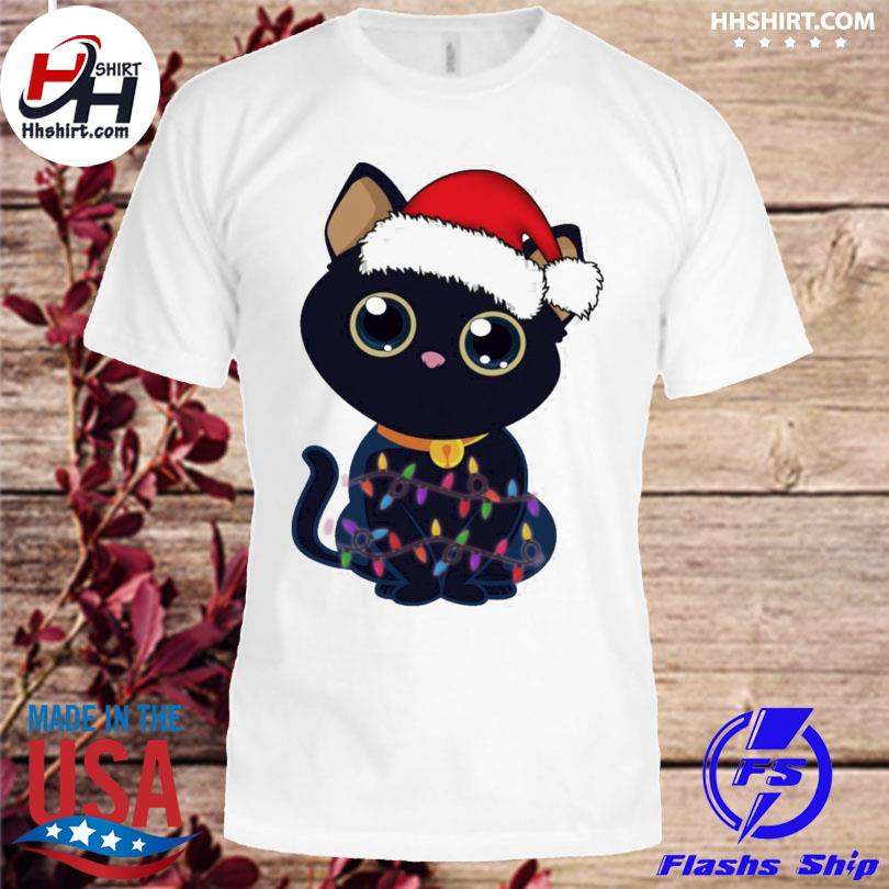 Cute Black Cat With Christmas Lights sweater