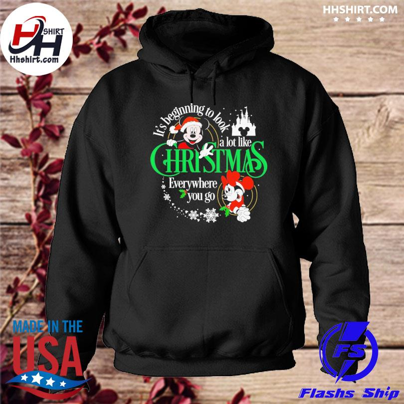 Mickey Mouse it's beginning to look a lot like Chritsmas evevrywhere you go sweater hoodie