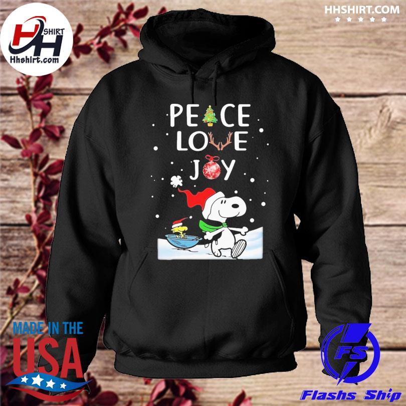 Peanuts snoopy peace love joy christmas sweater hoodie