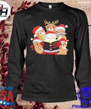 Santa Claus and Beavers the night before Christmas sweater longleeve