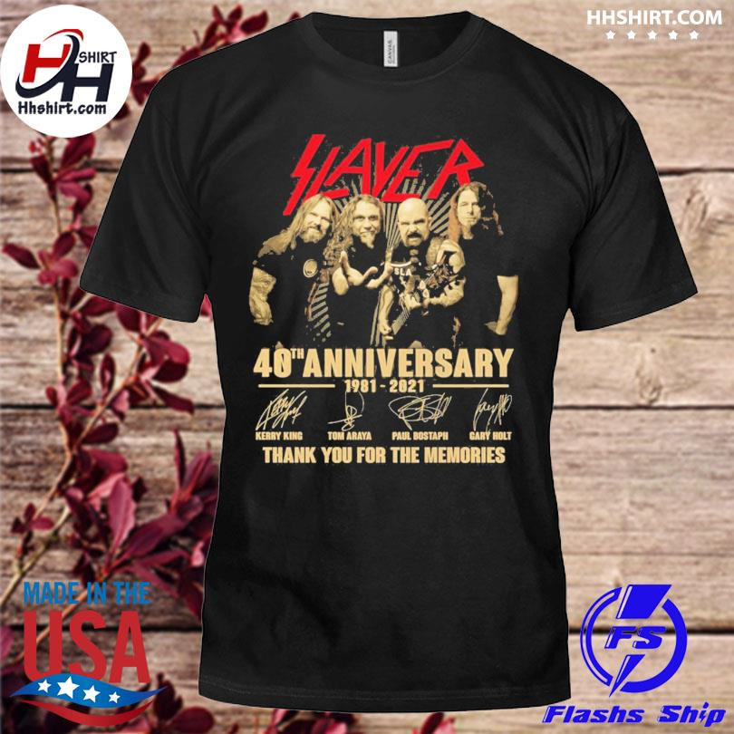 Slayer 40 th anniversary thank you for the memories signatures shirt