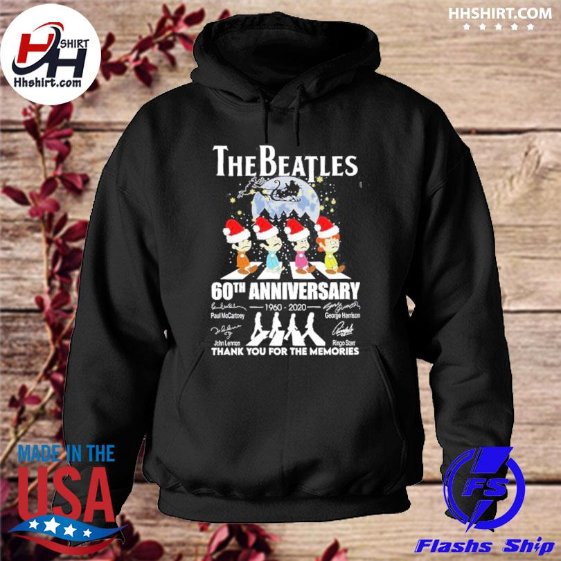The Beatles 60th anniversary thank you for the memories signatures Christmas sweater hoodie