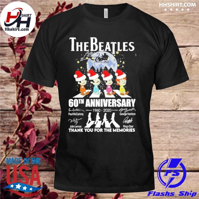The Beatles 60th anniversary thank you for the memories signatures Christmas sweater