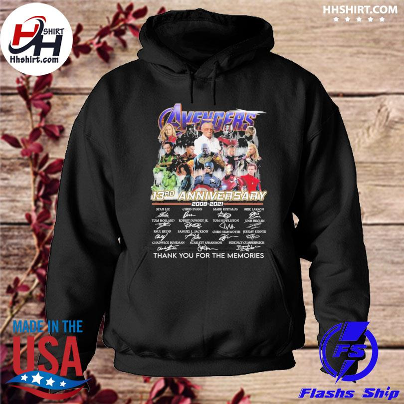 Avengers 13rd anniversary thank you for the memories signature s hoodie