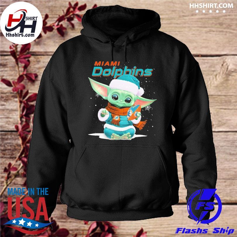 Baby Yoda Miami Dolphins Christmas sweater hoodie