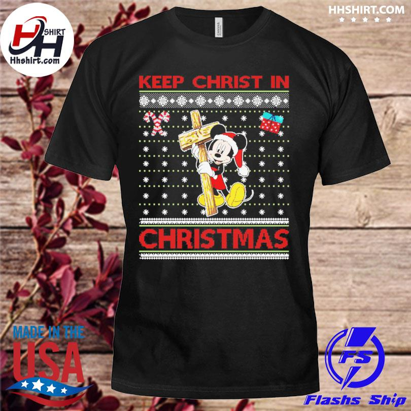 Mickey Mouse Santa Keep Christ in ugly christmas sweater