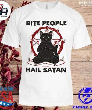 Black Cat Yoga bite people Hail Satan shirt