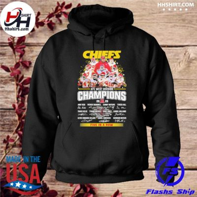 Kansas City Chiefs AFC afc west division champion 2020 five in a row signatures t-s hoodie