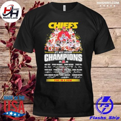 Kansas City Chiefs AFC afc west division champion 2020 five in a row signatures t-shirt