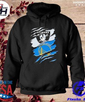 Las vegas Raiders and Golden State Warriors inside me s hoodie
