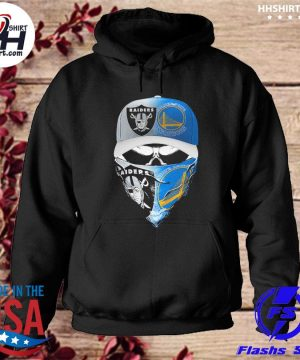 Las vegas Raiders and Golden State Warriors Skull hat face mask s hoodie