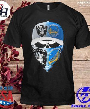 Las vegas Raiders and Golden State Warriors Skull hat face mask shirt
