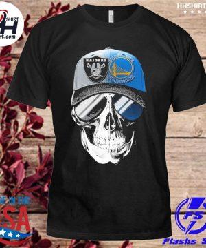 Las vegas Raiders and Golden State Warriors Skull sunglass shirt