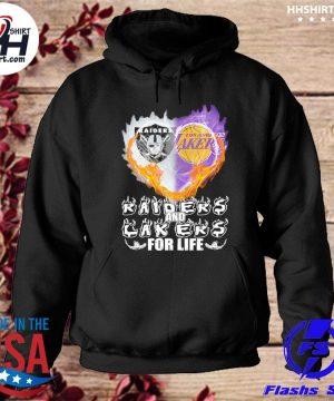 Las vegas Raiders and Los Angeles Laker Hearts for life s hoodie