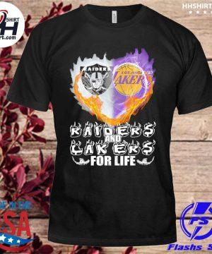 Las vegas Raiders and Los Angeles Laker Hearts for life shirt