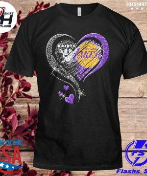 Las vegas Raiders and Los Angeles Laker Hearts t-shirt