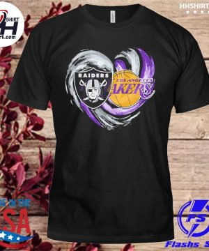 Las vegas Raiders and Los Angeles Lakers heart shirt