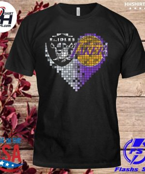 Las vegas Raiders and Los Angeles Lakers hearts shirt