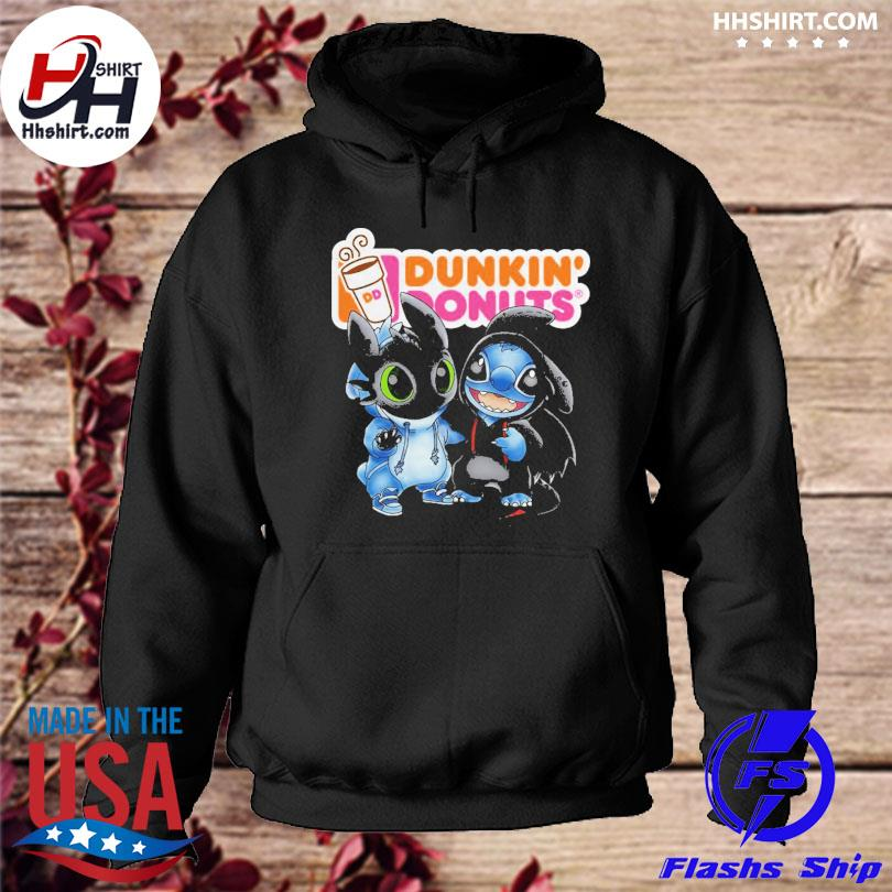 Baby toothless and stitch love dunkin' donuts s hoodie