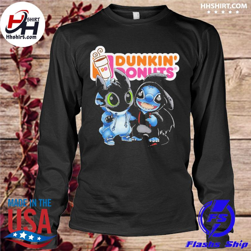 Baby toothless and stitch love dunkin' donuts s longleeve