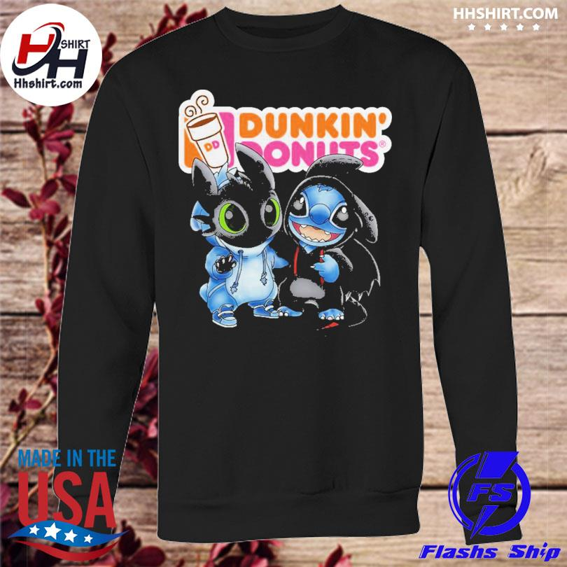 Baby toothless and stitch love dunkin' donuts s sweatshirt