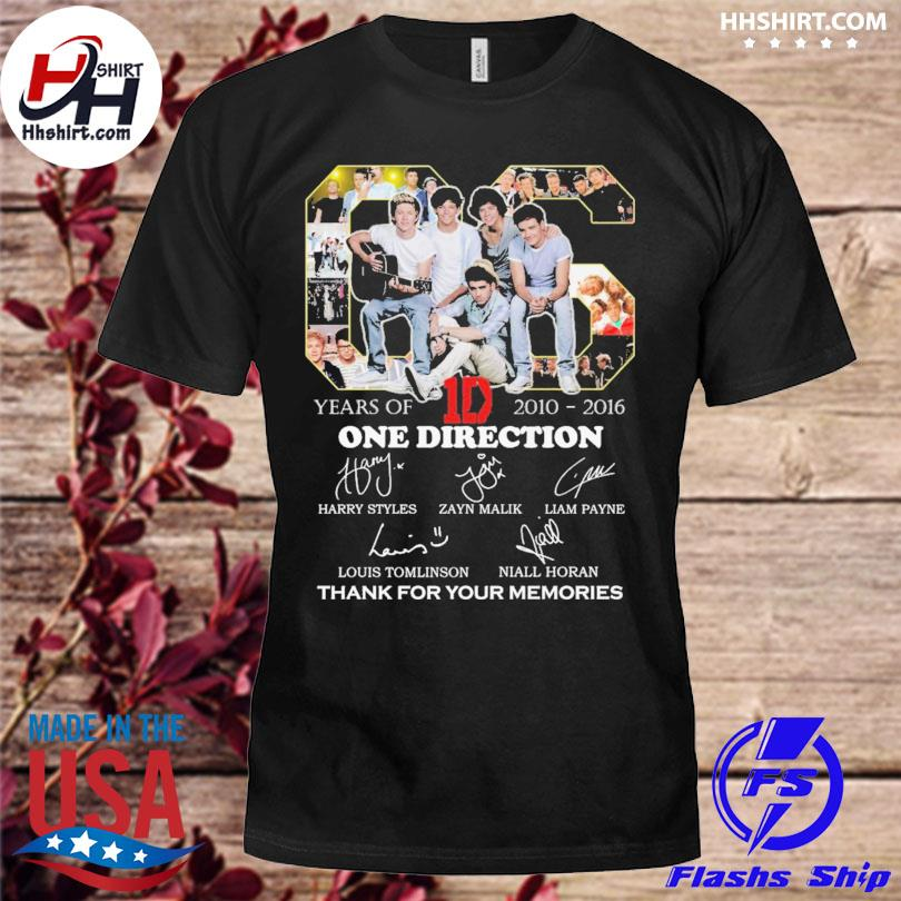 Official 06 years 1d One Direction thank you for the memories signatures shirt