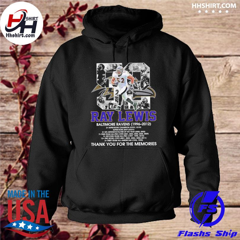 Official 52 Ray Lewis Baltimore Ravens thank you for the memories signature s hoodie
