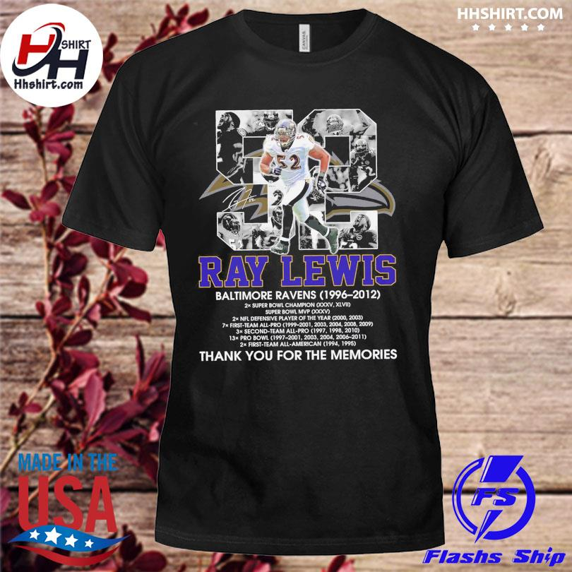 Official 52 Ray Lewis Baltimore Ravens thank you for the memories signature shirt